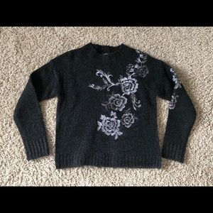 Blank NYC Flower Embroidered Back Zip sweater